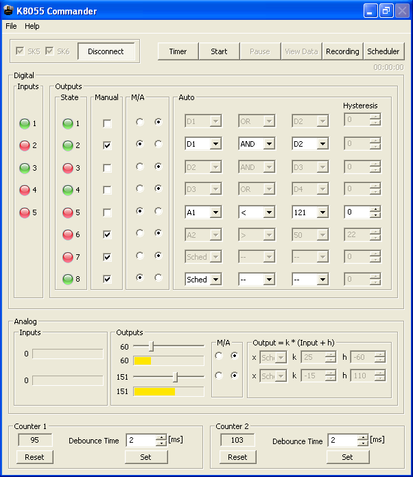 K8055 Commander main window