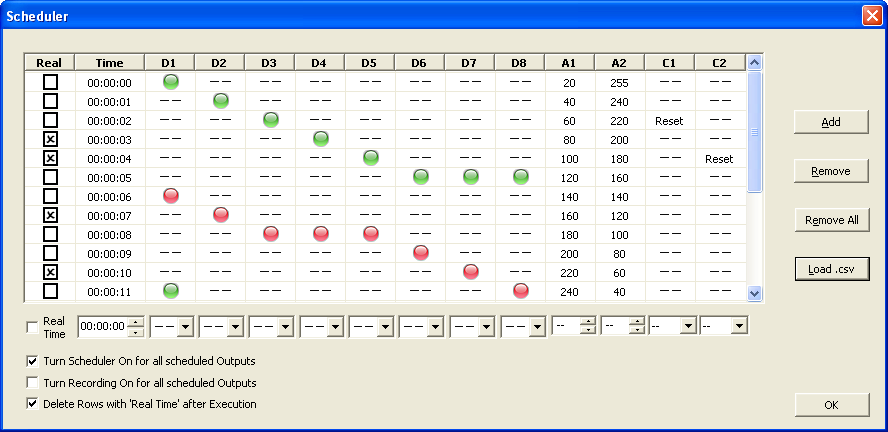 K8055 Commander scheduler window