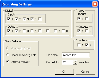 K8055 Commander recording settings window